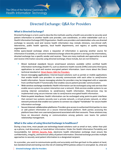 Directed Exchange: Q&A for Providers