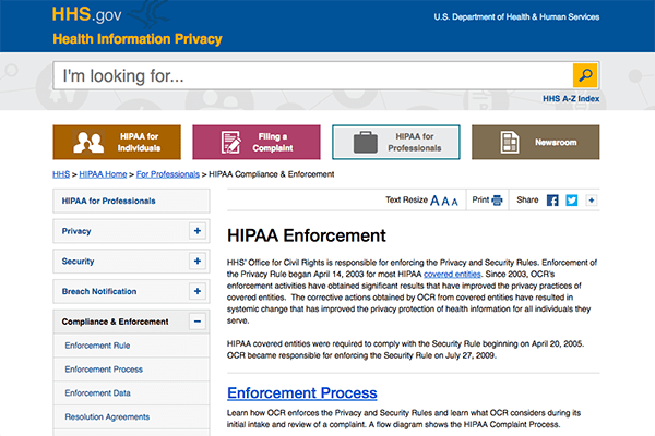 Visit HIPAA Enforcement website