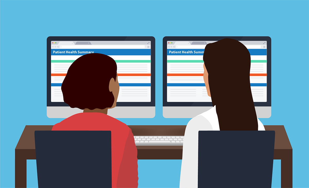Image of a clinician and a patient looking at the patient's electronic health record with a dual-screen setup during an appointment. The patient's screen lets her see the same thing that the doctor sees.