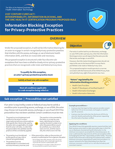 Promote the privacy of electronic health information. PDF. Click to download.