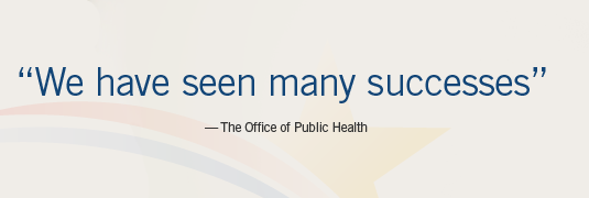 "Image of Quote ""'We have seen many successes.'-The Office of Public Health"""