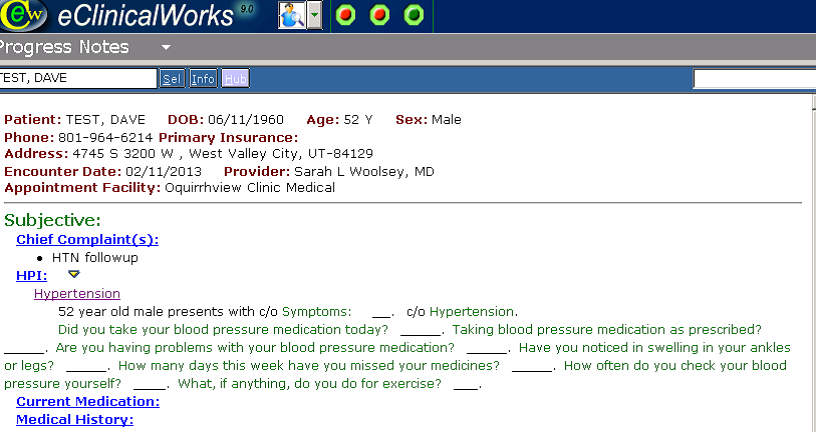 Screenshot showing part of template for documenting hypertension follow-up visit (used with permission from CHC, Inc. and eClinicalWorks)