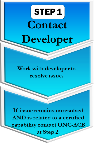 Step 1: Contact Developer Work with developer to resolve issue. If issue remains unresolved AND is related to a certified capability contact ONC-ACB at Step 2.