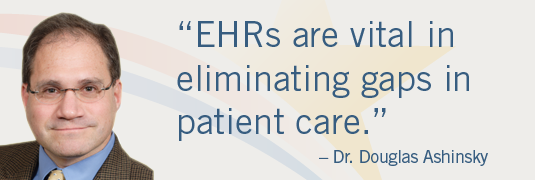 'EHRs are vital in eliminating gaps in patient care.'-Dr. Douglas Ashinsky