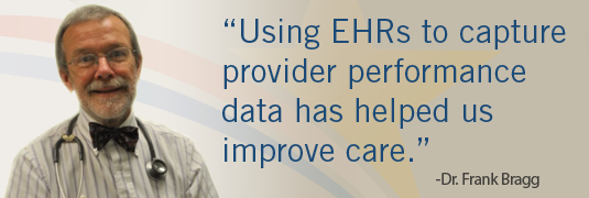 'Using EHRs to capture provider performance data has helped us improve care.' – Dr. Frank Bragg