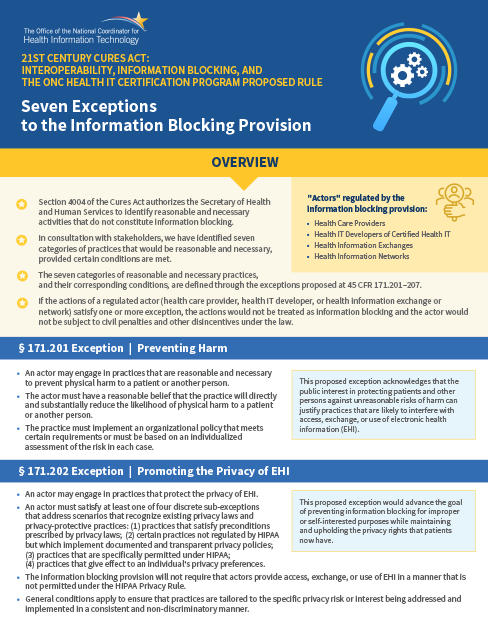 Information Blocking – Summaries of the 7 Exceptions