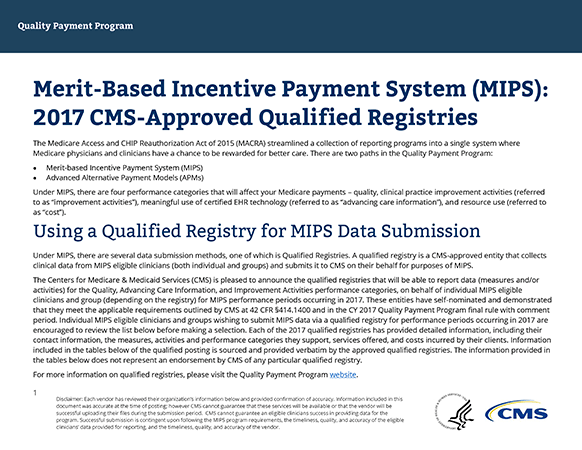 Merit-Based Incentive Payment System (MIPS) 2017 CMS-Approved Qualified Registries