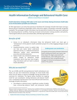 HIE Value Proposition: Behavioral Health