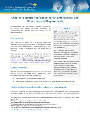 Breach Notification, HIPAA Enforcement, and Other Laws and Requirements