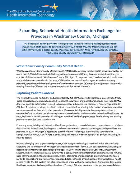 Expanding Behavioral Health Info Exchange For Providers In Washtenaw