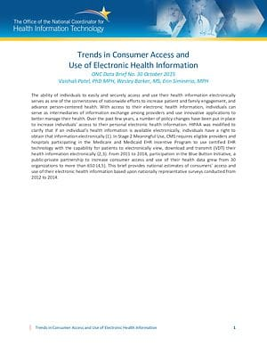 Data Brief: Trends in Consumer Access and Use of Electronic Health Information