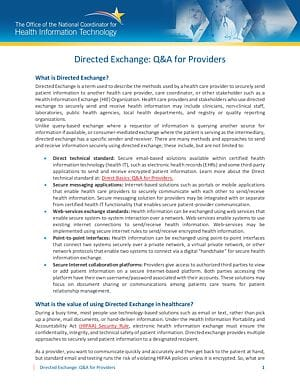 HIE Directed Exchange for Providers