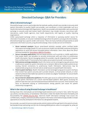 Health Information Exchange: Directed Exchange for Provider