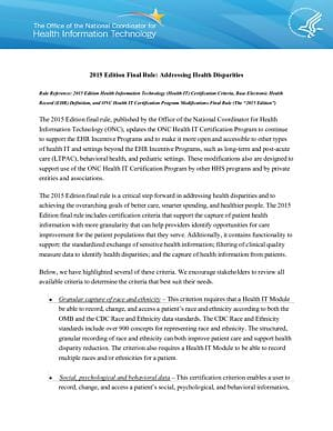 2015 Edition Final Rule: Addressing Health Disparities