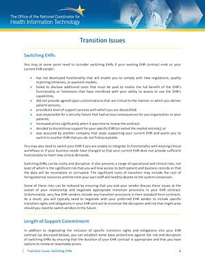 EHR Contract Guide Chapter 9: Transition Issues: Switching EHRs cover