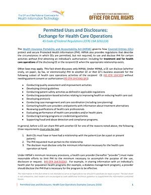 Permitted Uses and Disclosures: Exchange for Health Care Operation
