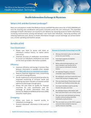 The Value Proposition of Health Information Exchange: General Fact Sheet