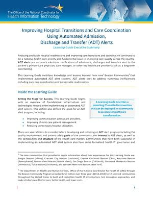 Learning Guide: Improving Hospital Transitions and Care Coordination Using Automated Admission, Discharge and Transfer (ADT) Alerts
