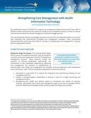 Learning Guide: Strengthening Care Management with Health IT