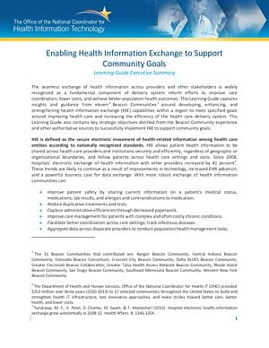 Learning Guide: Enabling Health Information Exchange to Support Community Goals