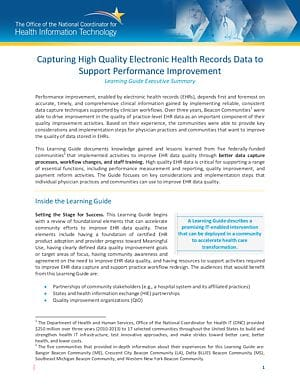 Learning Guide: Capturing High Quality Electronic Health Records Data to Support Performance Improvement