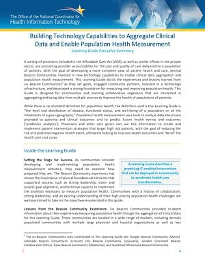Learning Guide: Building Technology Capabilities to Aggregate Clinical Data and Enable Population Health Measurement