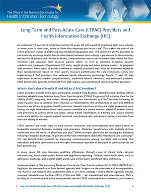 Long-Term and Post-Acute Care (LTPAC) Providers and Health Information Exchange