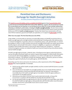 Permitted Uses and Disclosures: Exchange of Health Information at the Federal, State, and Local Level