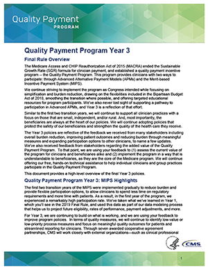 2019 Quality Payment Program Final Rule Fact Sheet