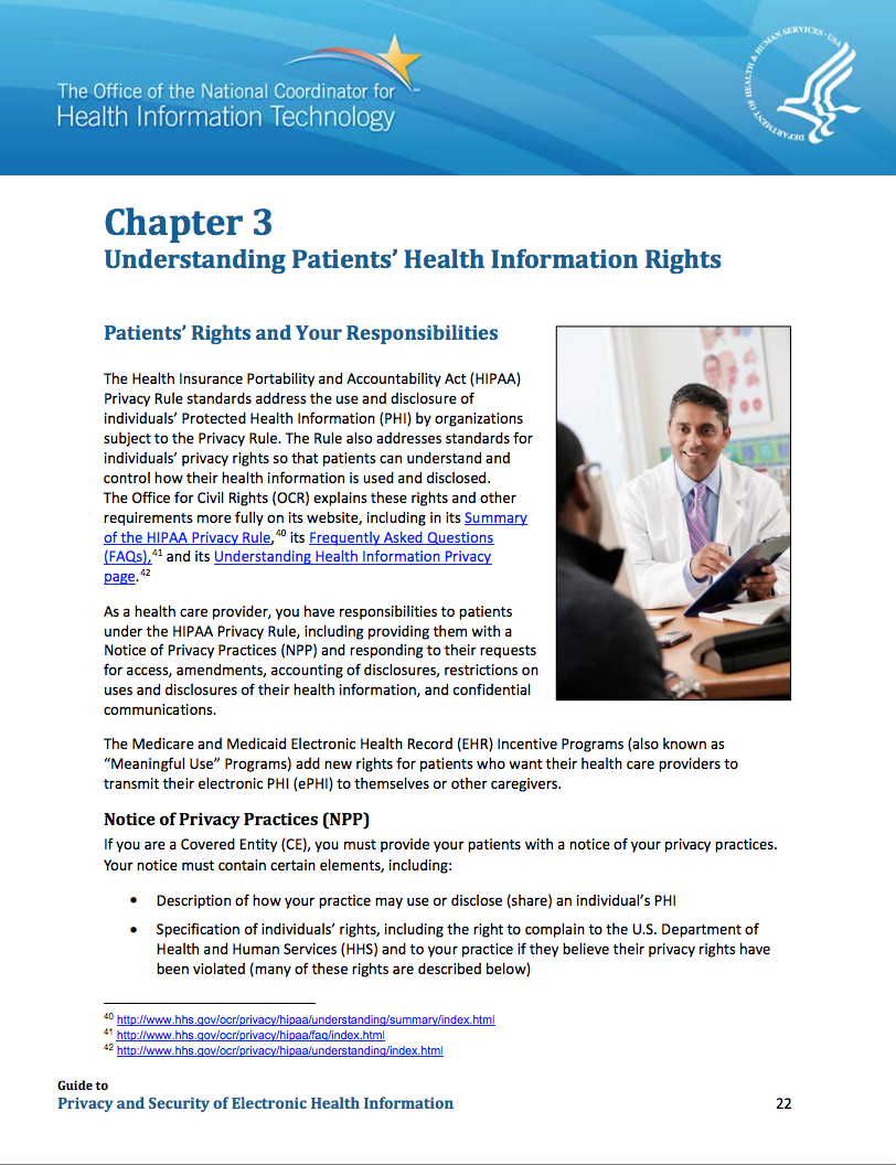 Guide to Privacy and Security of Health Information: Chapter 3