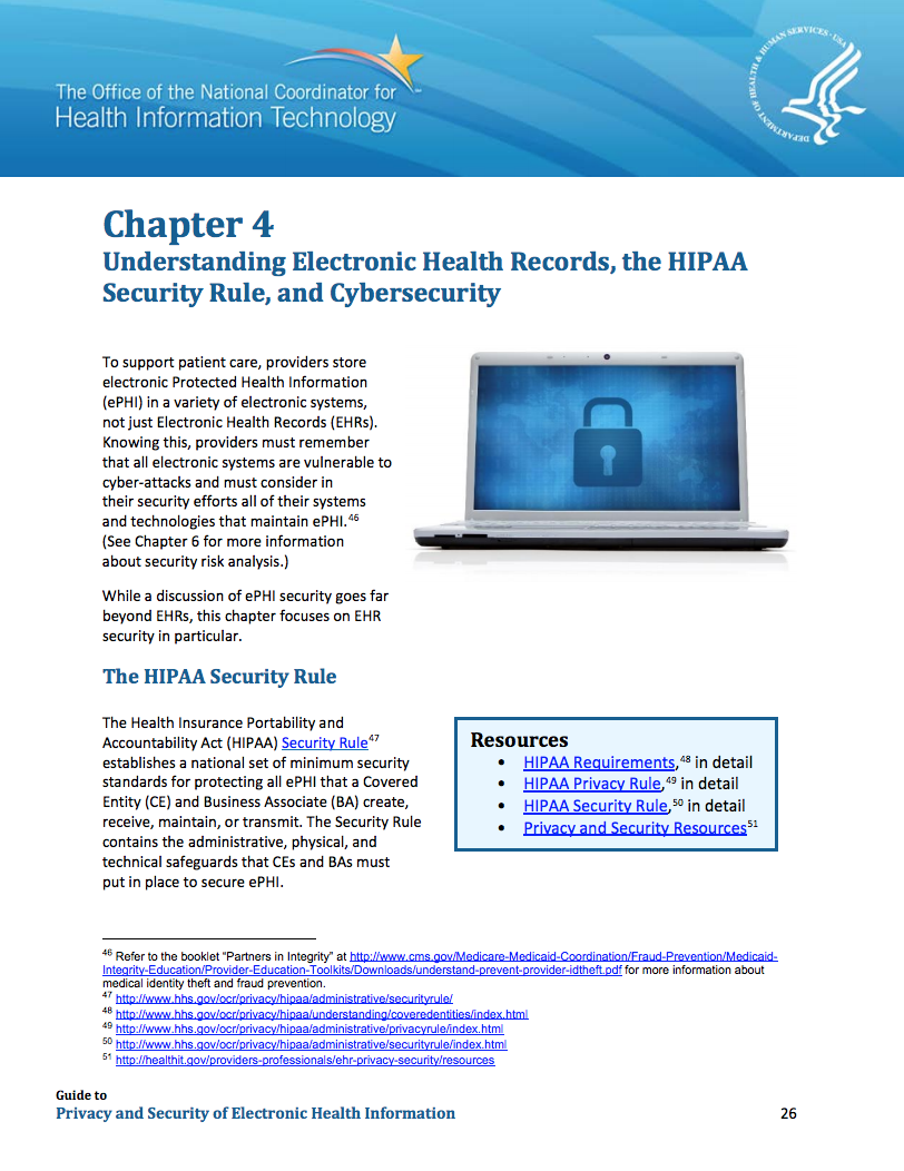 Guide to Privacy and Security of Health Information: Chapter 4